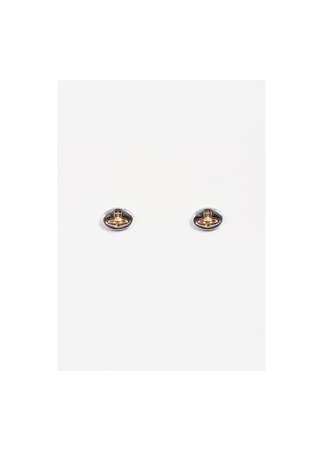 Vivienne Westwood Jewellery Embossed Logo Stud Earrings - Rhodium