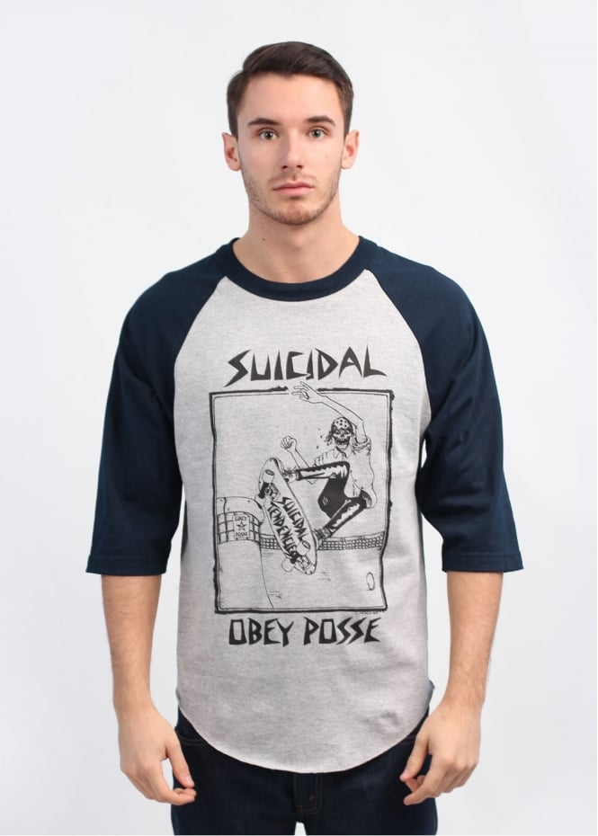 x Suicidal Tendencies Pool Skater T-Shirt - Grey / Navy