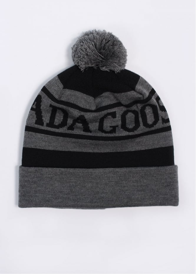 Logo Toque Bobble Beanie Hat - Graphite / Black