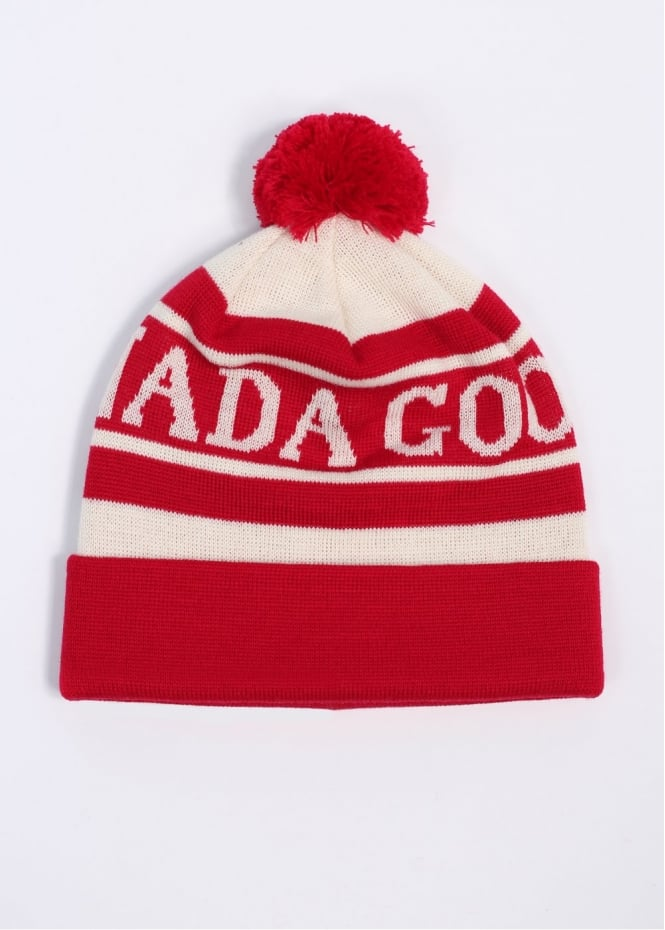 Logo Toque Bobble Beanie Hat - Red / White