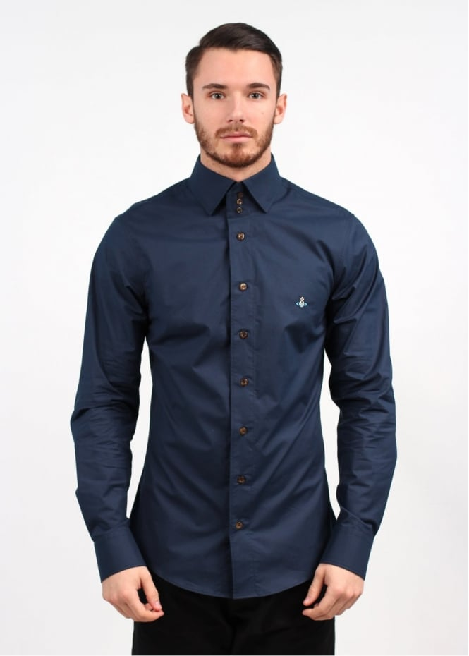 Vivienne westwood 3 button collar shirt navy ss14 for Three button collar shirts