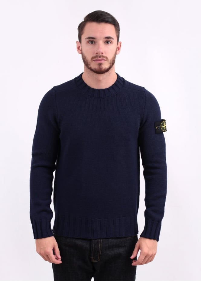 Stone Island Heavy Knit Crew Neck Jumper - Ink