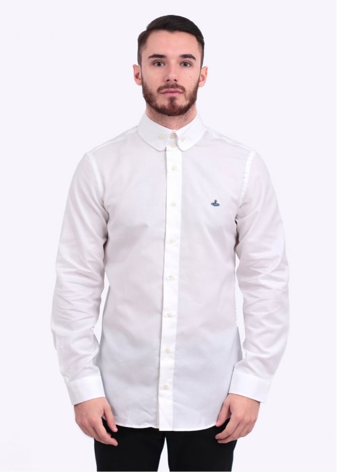 Vivienne westwood button collar shirt white for 3 button shirt collar