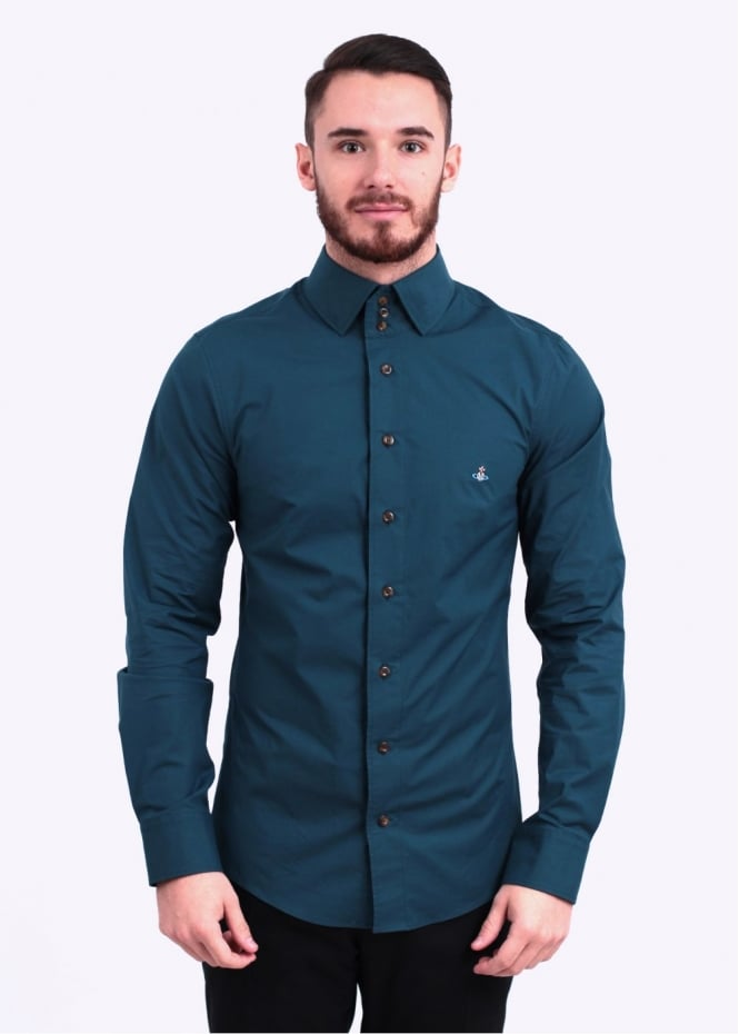 Vivienne westwood 3 button shirt teal for Teal mens dress shirt