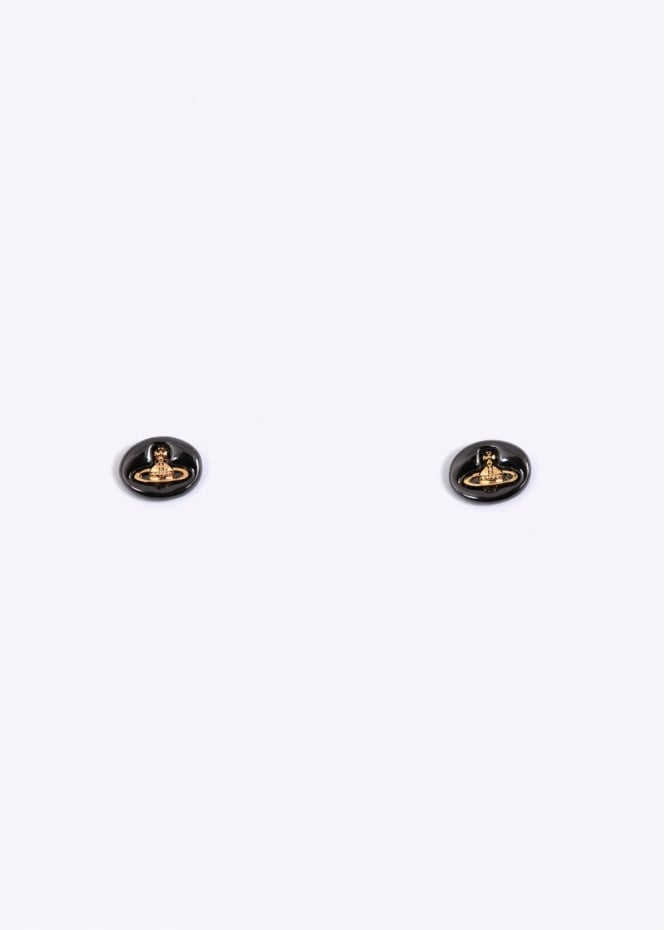 Vivienne Westwood Jewellery Embossed Logo Stud Earrings - Gun Metal