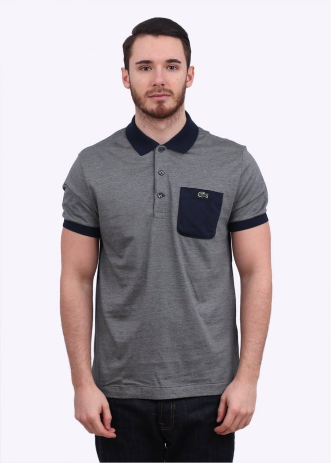 Lacoste stripe pocket polo shirt grey for Lacoste stripe pique polo shirt