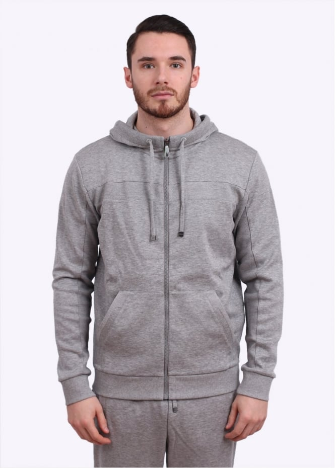 Hugo Boss Green Saggy Hooded Track Jacket Grey