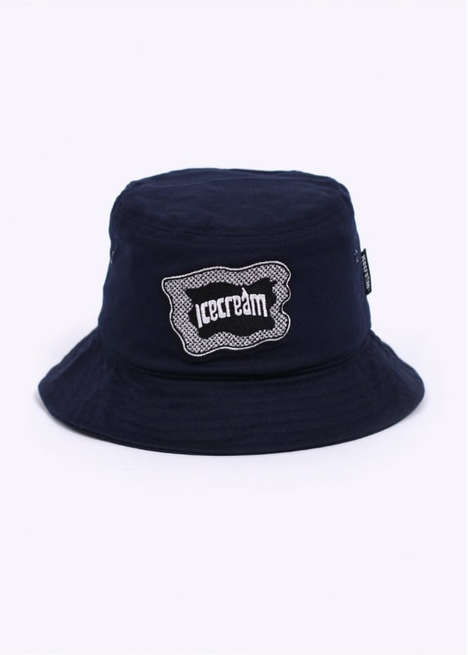Ice Cream Iced Out Bucket Hat - Navy Blue