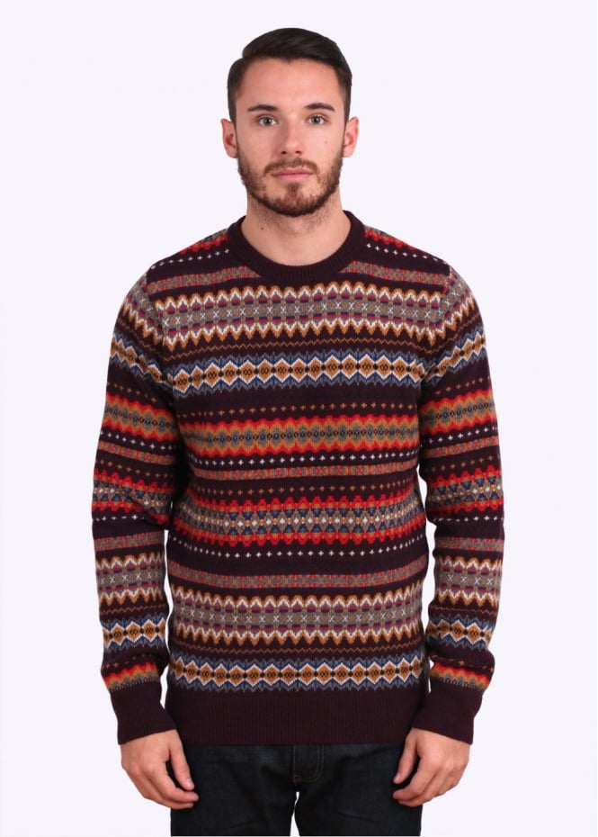Barbour Heritage Caistown Fair Isle Lambswool Jumper - Merlot