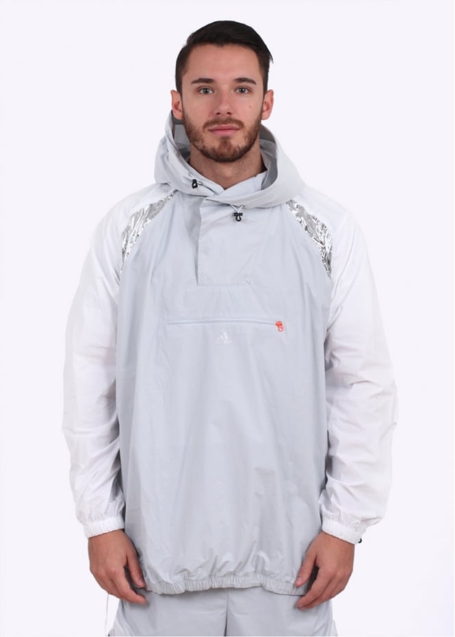 Adidas Originals Apparel x Kolor Tech Hooded Anorak Jacket - White / Grey / Purple