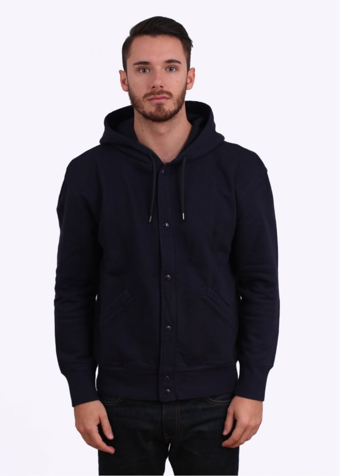 Paul Smith Button Up Hoodie - Navy Blue
