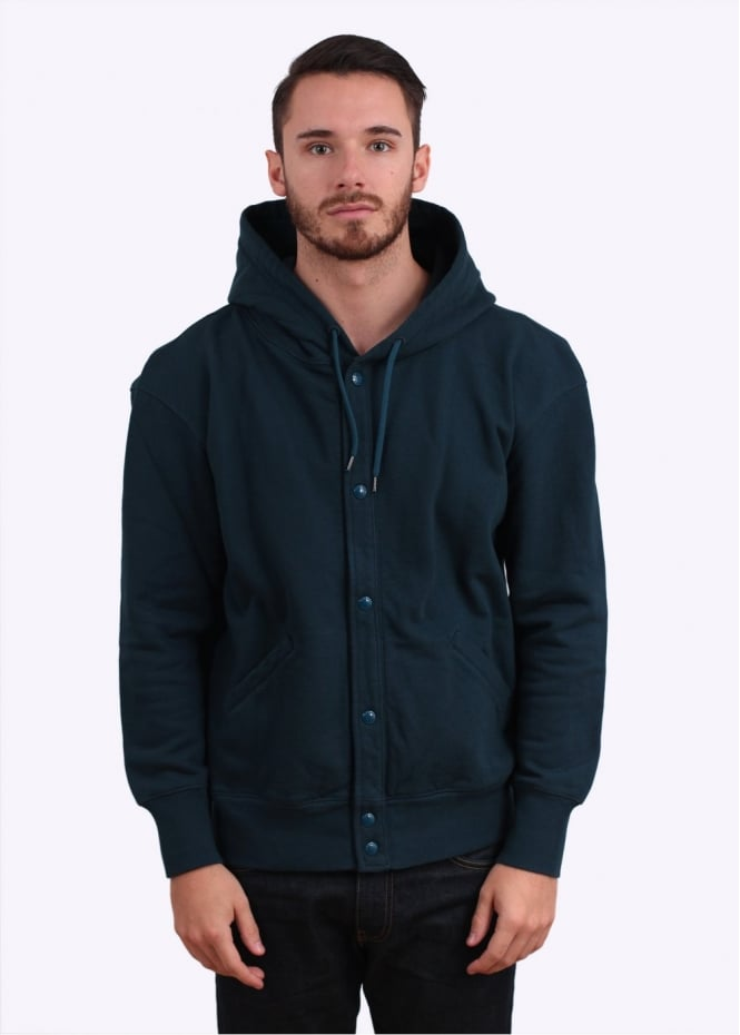 Paul Smith Button Up Hoodie - Petrol Green