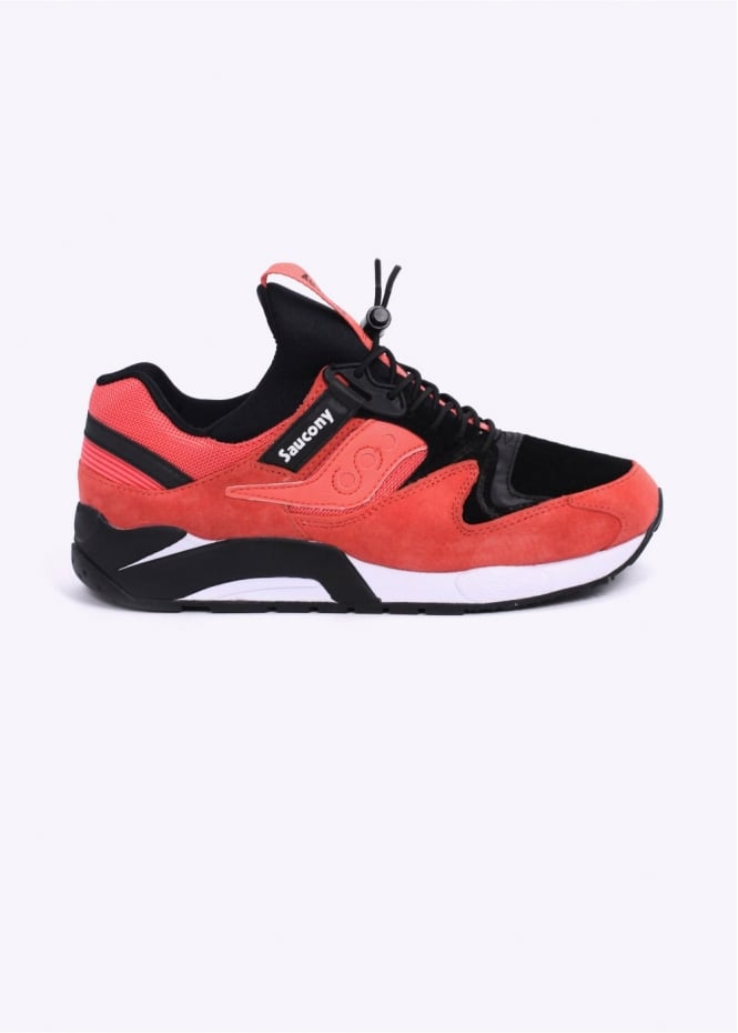 """Saucony Grid 9000 """"Bungee"""" Trainers - Coral/Black"""