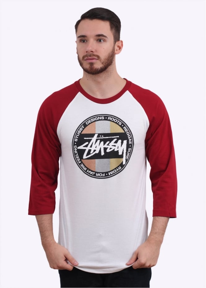 Stussy Metallic Dot Raglan Tee - White / Burgundy