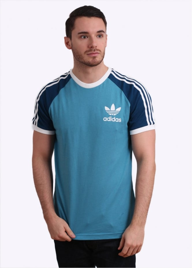 Adidas originals california tee light blue for Adidas ringer t shirt