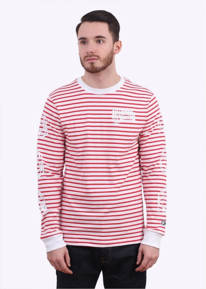 Billionaire Boys Club Stripey Long Sleeve Tee - Red / White