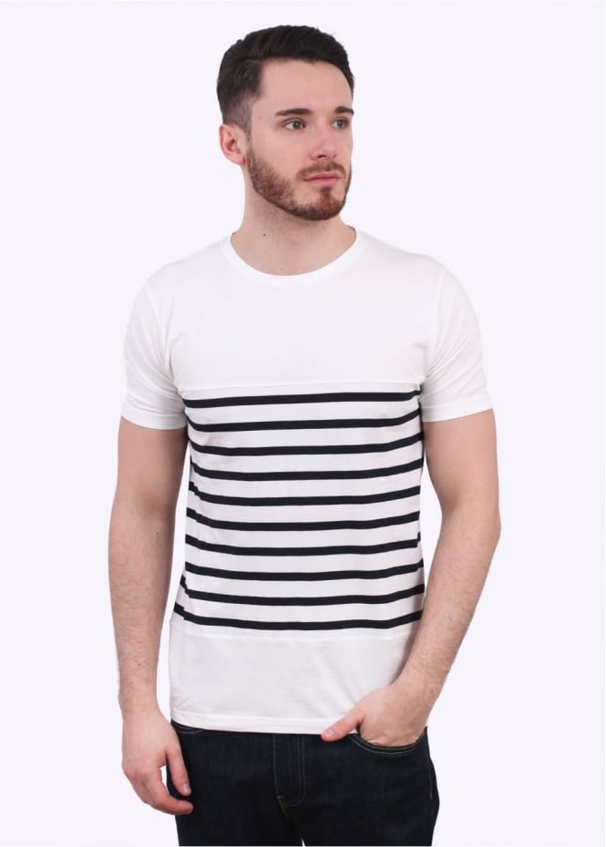 Armor Lux Heritage Striped Tee - Milk / Rich Navy