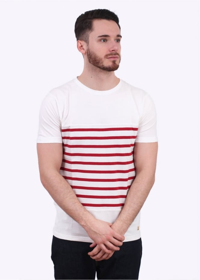 Armor Lux Heritage Striped Tee - Milk / Red
