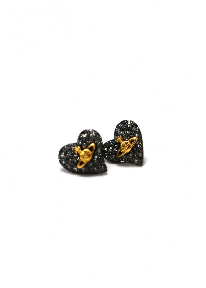 Vivienne Westwood Jewellery Tiny Diamante Heart Studs Gunmetal
