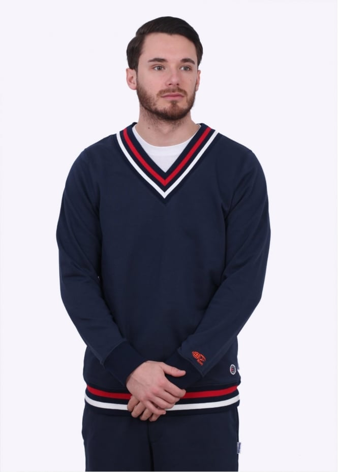Reebok x Beams Tennis V Neck Knitted Sweater - Collegiate Navy