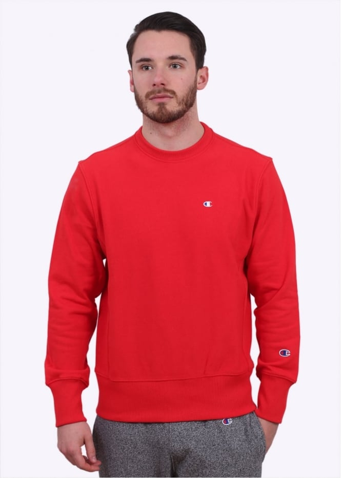 Champion Reverse Weave Classic Logo Crew Sweater - Red