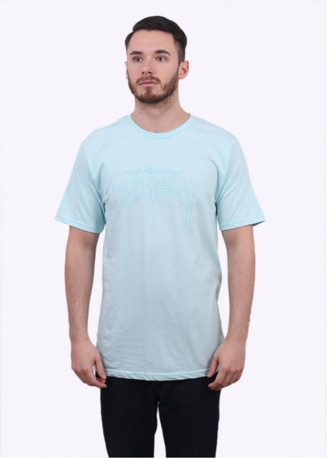 Stussy Stock Embroidered Tee - Light Blue