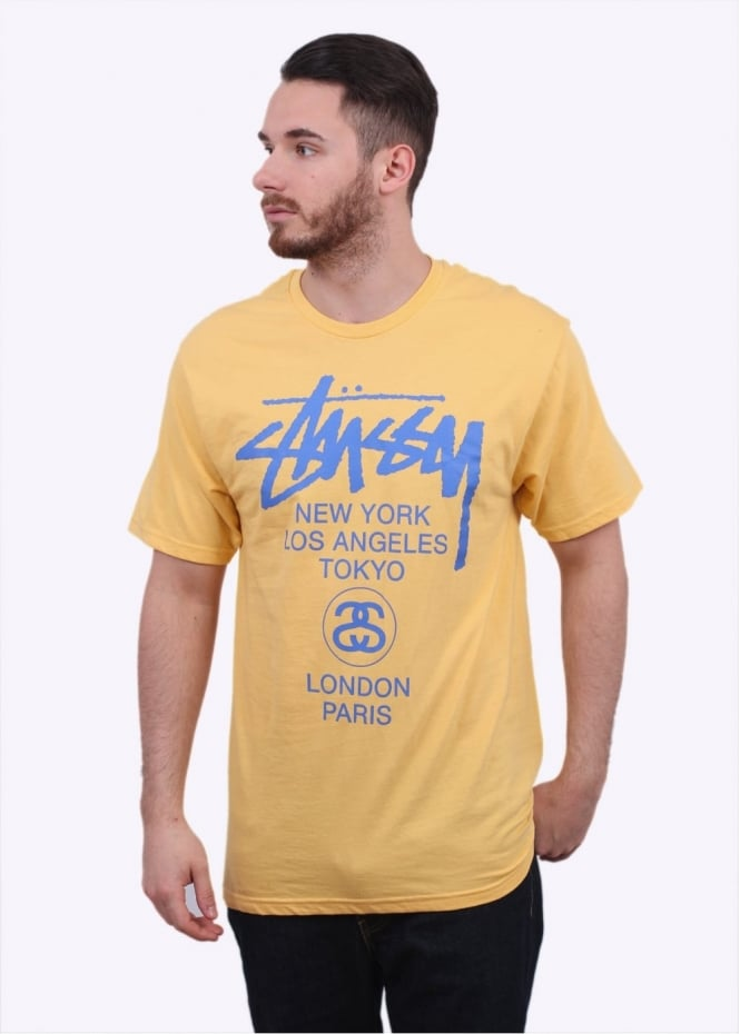 Stussy World Tour Tee - Faded Yellow
