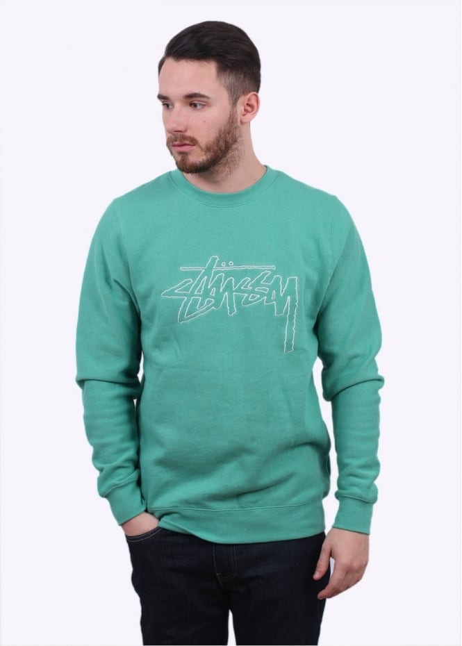 Stussy Stock Outline Sweater - Green
