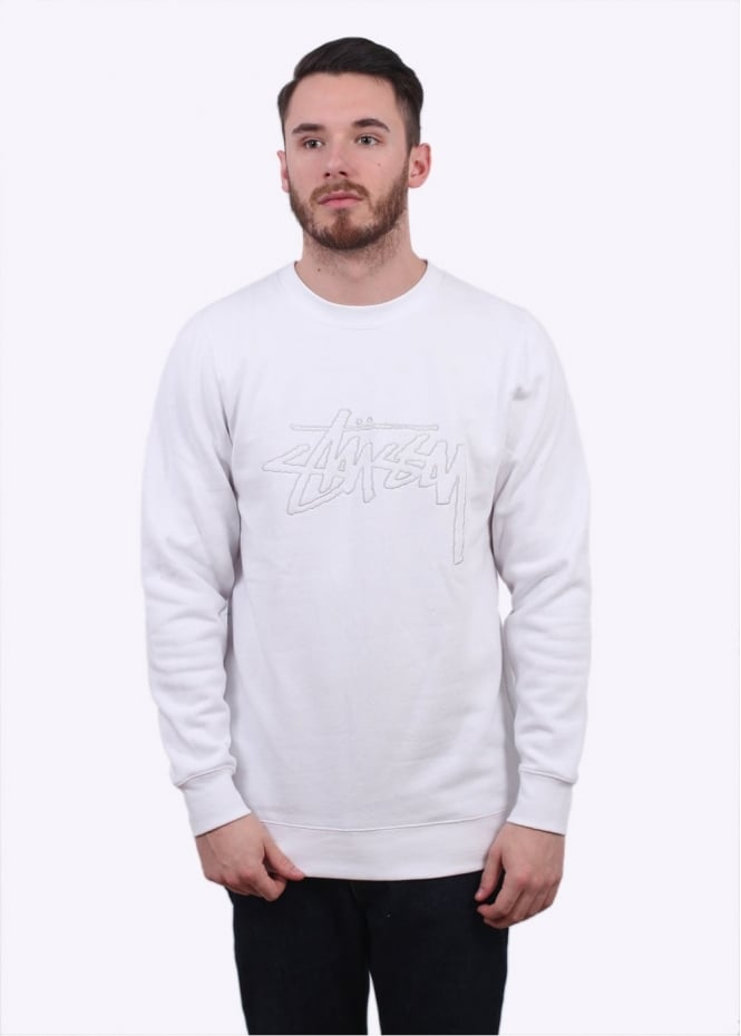Stussy Stock Outline Sweater - White