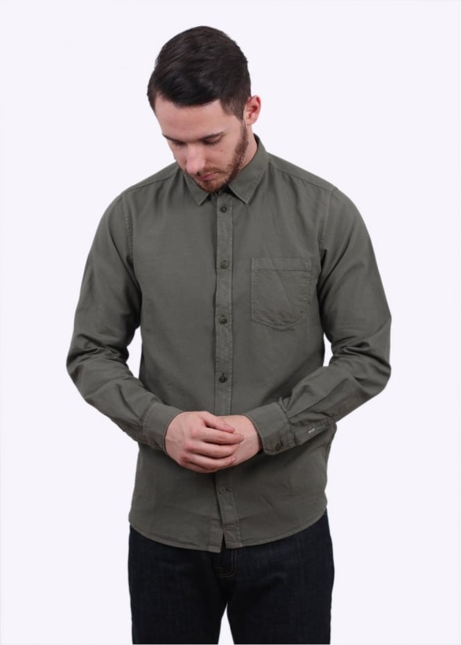 Norse Projects Anton Light Overdyed Oxford Shirt - Dried Olive
