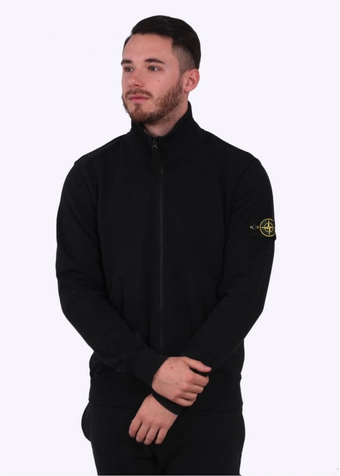 Stone Island Zip Sweatshirt - Black