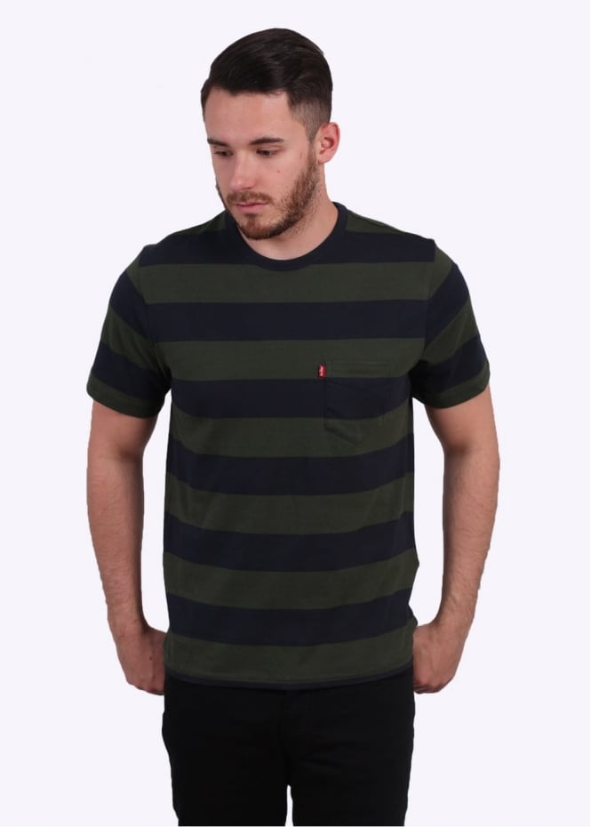 Levi's Red Tab Thick Stripe Tee - Night / Green