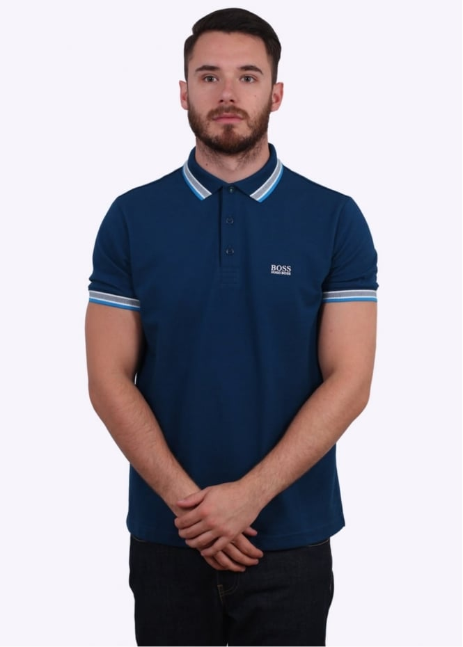 Hugo Boss Green Paddy Polo Shirt - Blue / Light Blue