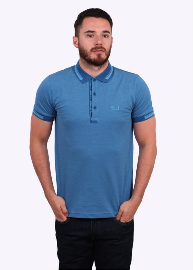 Hugo Boss Green Paule 4 Polo Shirt - Open Blue