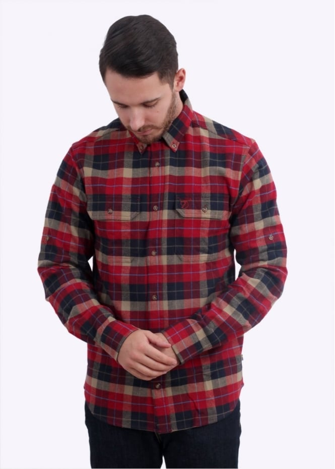 Fjallraven Singi Heavy Flannel Shirt Deep Red Triads