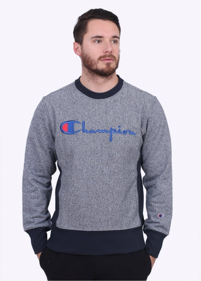 Champion Script Logo Crew Sweater - Navy Marl
