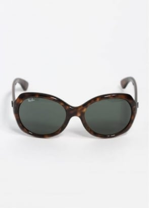 Ray-Ban Ladies Round Frame Sunglasses - Havana / Green