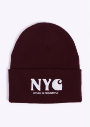 Carhartt NYC Beanie Hat - Bordeaux / White
