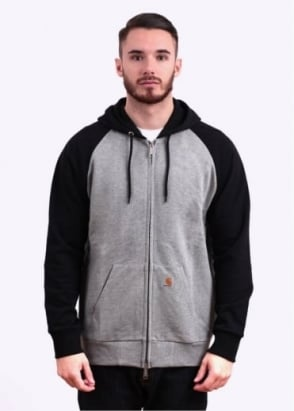 Carhartt Brooker Hooded Sweat Jacket - Heather Grey / Black