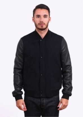 Paul Smith Red Ear Alfred Brown Wool Bomber Jacket - Navy