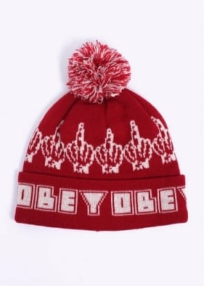Obey Bird Pom Pom Beanie - Red