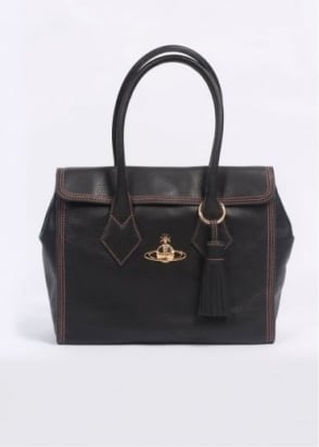 Vivienne Westwood Accessories Dolce Vita Pelle Large Bag - Black / Pesca