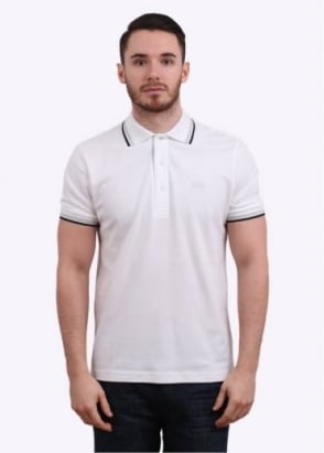 Hugo Boss Green Paddy Polo Shirt - White