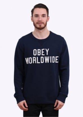 Obey Global Crew Sweater - Dark Navy