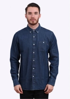Obey Commerce Dissent Woven Denim Shirt - Indigo