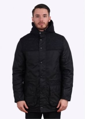 Barbour Heritage Tweed Durham Wax Jacket - Navy