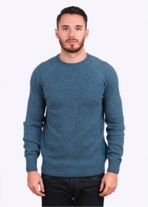 Barbour Heritage Staple Lambswool Crew Neck Jumper - Glacier Blue
