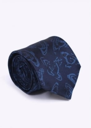 Vivienne Westwood Accessories Pattern Tie - Navy