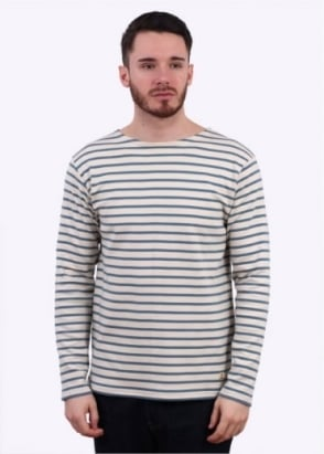 Armor Lux Breton T-Shirt - Cream / Blue