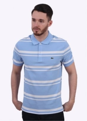 Lacoste Short Sleeve Stripe Polo - Nattier Blue